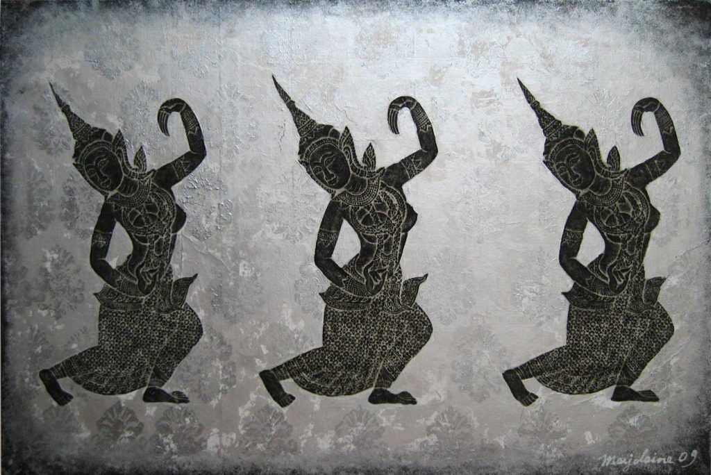 Apsara Night Dancers, 90 x 60 cm, Charcoal on paper, Wood stamp on Acrylic.