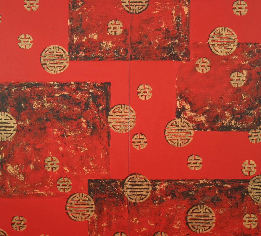 Chinese New Year (diptych) 140 x 120cm, Acrylic on Canvas