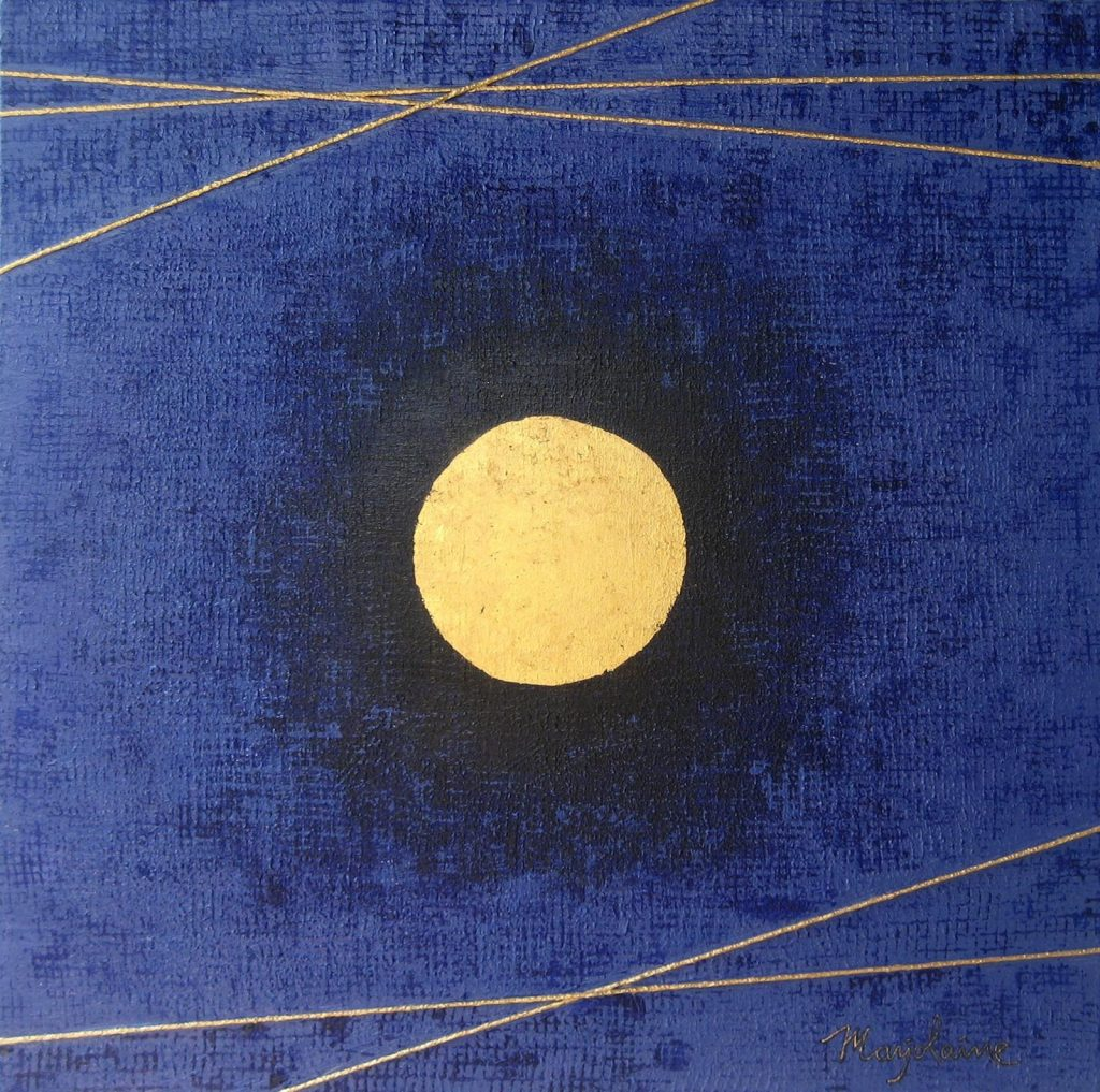Moon Life 60 x 60 cm, Acrylic on Canvas and Gold Paper
