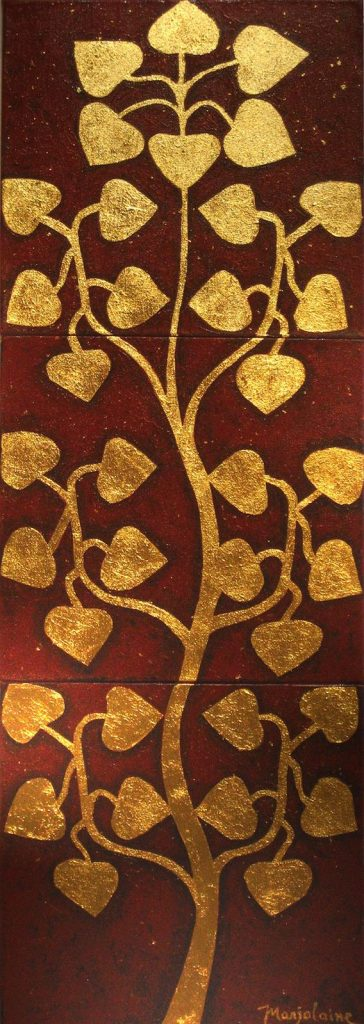 Tree of Life, 30 x 90 cm, Acrylic on Canvas with Gold Paper