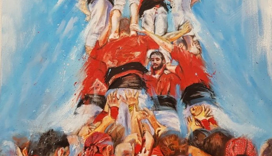 Els Castellers, 54 x 82 cm, Oil on Canvas. (Sold)