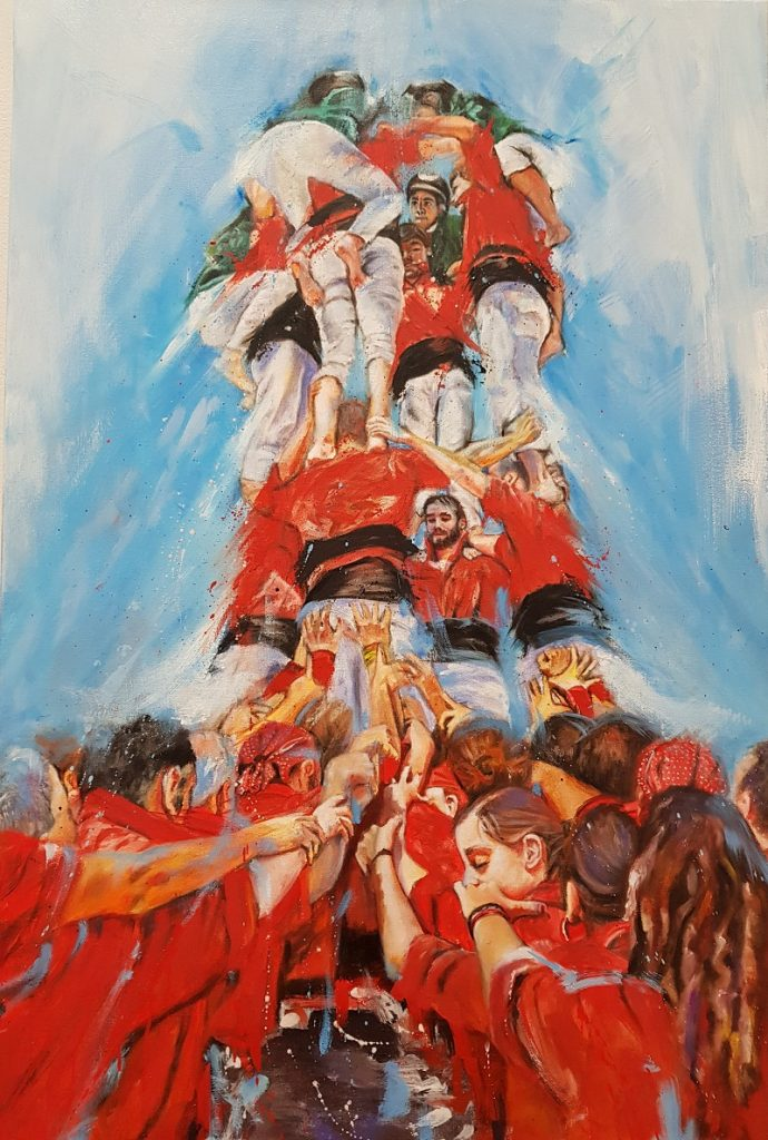 Els Castellers, 54 x 82 cm, Oil on Canvas.