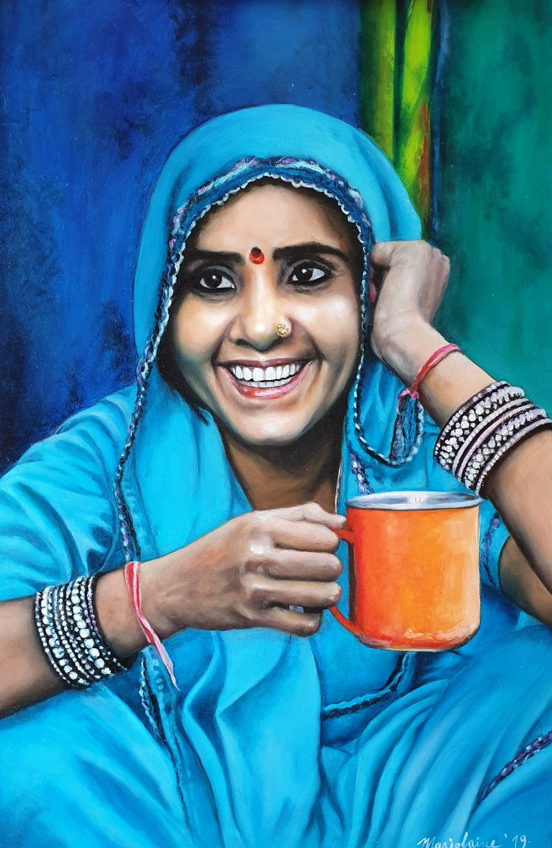 Khushi kee chai, 50 x 75 cm, Oil on Wood.